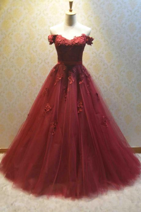 Charming Off Shoulder Lace Top Off Shoulder Floor Length Sweet 16 Gown, Charming Formal Gowns 2019