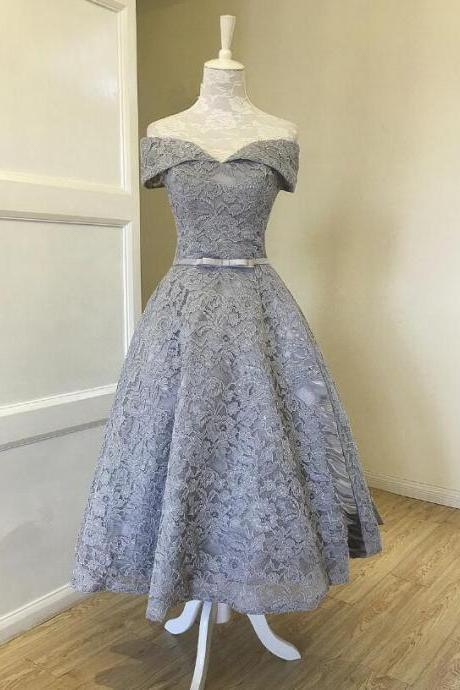 Grey Lace Tea Length Vintage Style Wedding Party Dress, Grey Homecoming Dresses