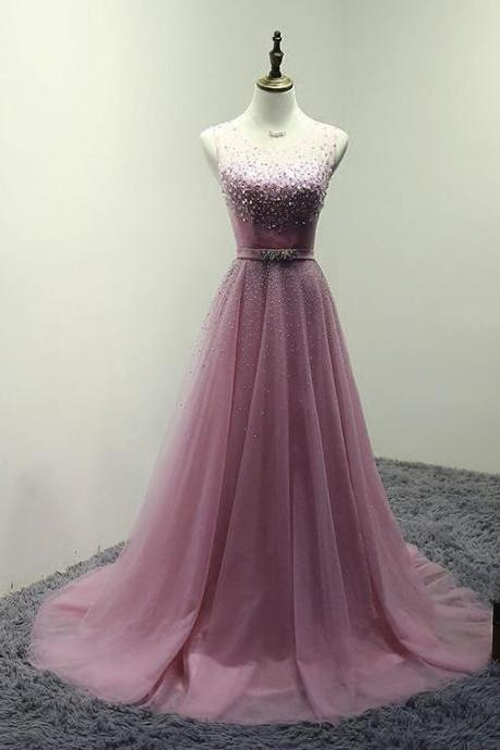 Pink Sweet Beaded Tulle Long Formal Dress 2019, Lovely Teen Party Dresses
