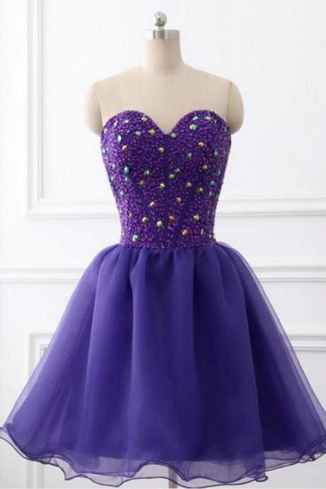 Dark Purple Sweetheart Organza Knee Length Beaded Formal Dress, Purple Prom Dresses 2019