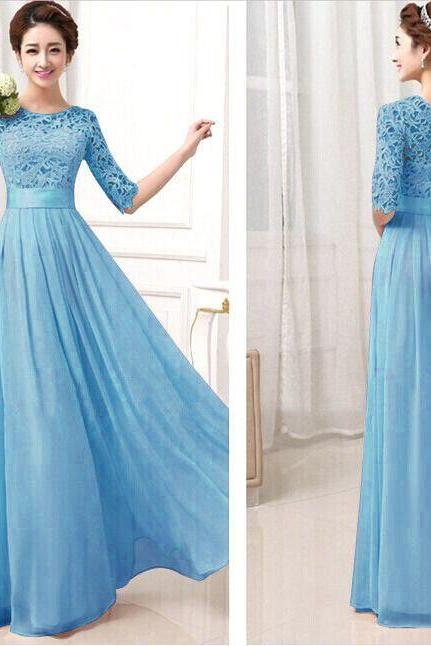 Blue Lace and Chiffon Bridesmaid Dress, Charming Wedding Party Dress, Formal Gowns 2019