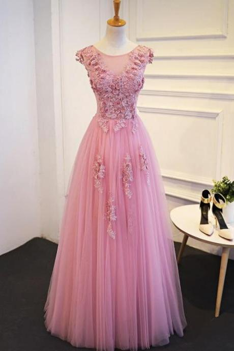 Pink Round Neckline Floral Lace Applique Party Dress, Charming Handmade Party Dresses 2019