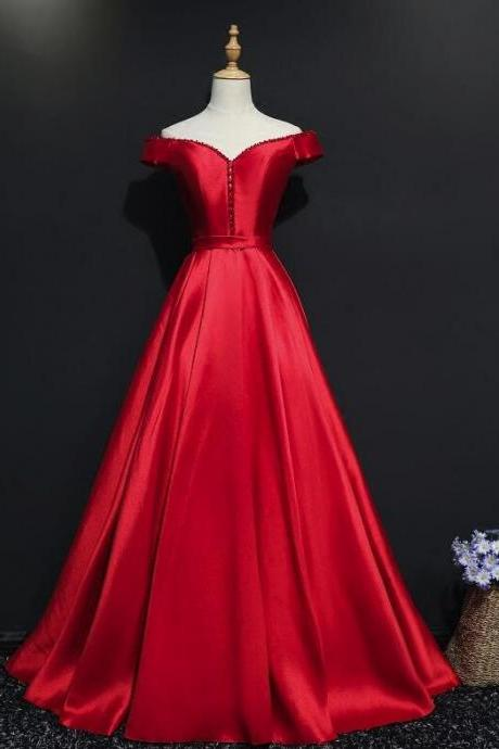 Red Satin New Style Off Shoulder with Beaded Long Formal Dress, Red Party Gowns 2019