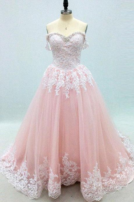 Pink Sweetheart Tulle with White Lace Applique Sweet 16 Gowns, Gorgeous Party Dresses 2019