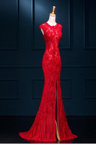 Red Lace Mermaid Long Evening Party Dress 2019, Slit Sexy Formal Gown