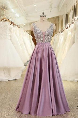 Beautiful V-neckline Backless Long Prom Dress 2019, Sequins Party Dresses