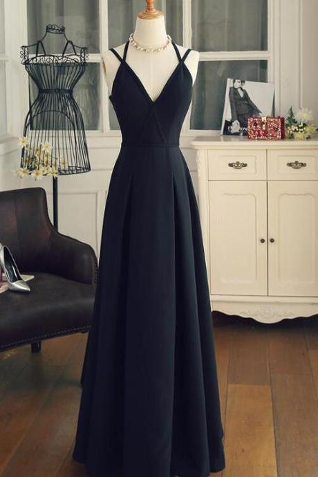 Black Chiffon Prom Dress 2109, Lovely Party Gown, Black Bridesmaid Dress 2019