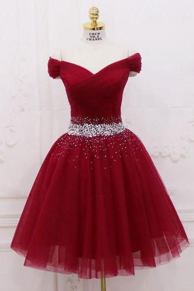Beautiful Wine Red Tulle Knee Length Formal Dress, Off Shoulder Short Party Dress 2019