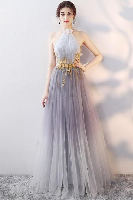 Halter Grey Gradient Long Tulle Party Dress, Beautiful Gowns