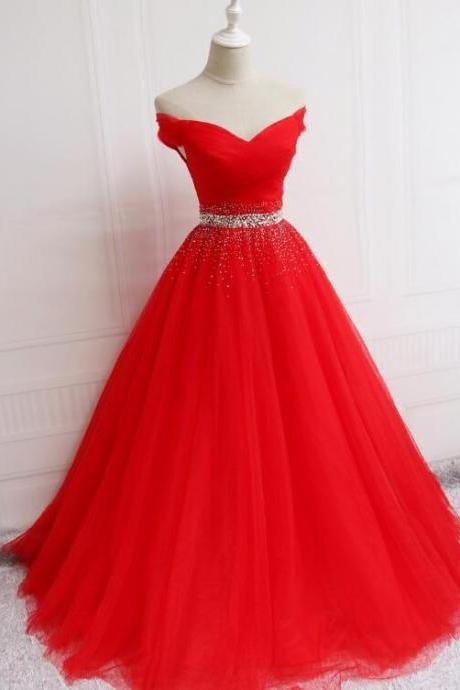 Red Off Shoulder Party Gown 2019, Red Formal Dress 2019, Party Dress 2019