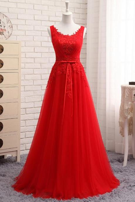 Red Lace Applique Tulle Long Formal Gown, Red Party Dress 2019, Prom Dress 2019
