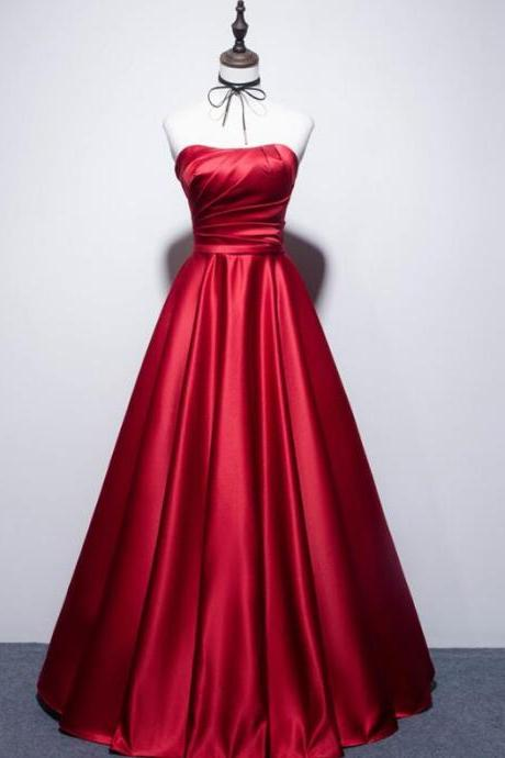 Dark Red Satin Long Strapless Formal Gown, Beautiful Satin Party Dresses 2019