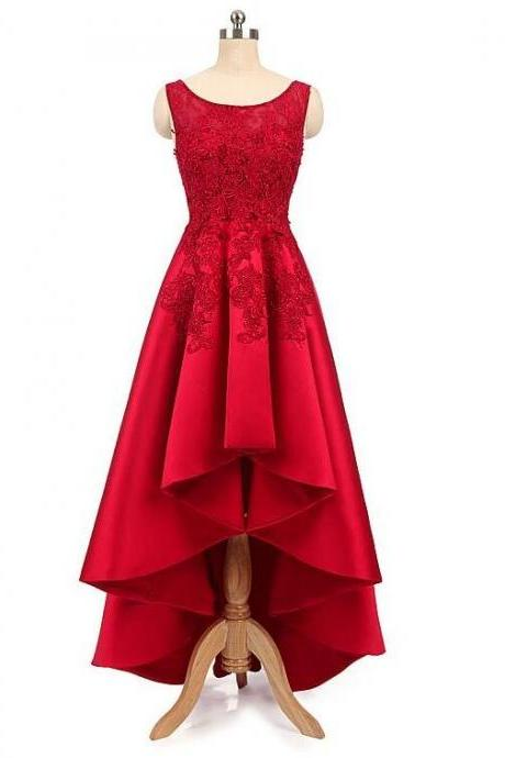 Red Satin High Low Round Neckline Party Dress 2019, Beautiful Red Homecoming Dress