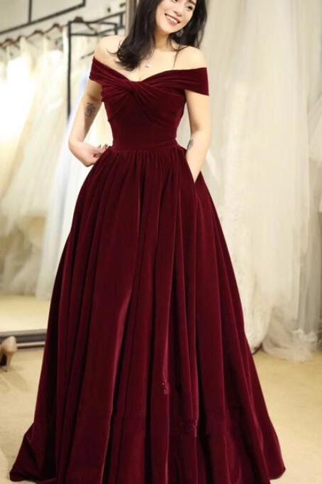 Beautiful Off Shoulder Velvet Long Party Dress, Elegant Prom Dresses 2019