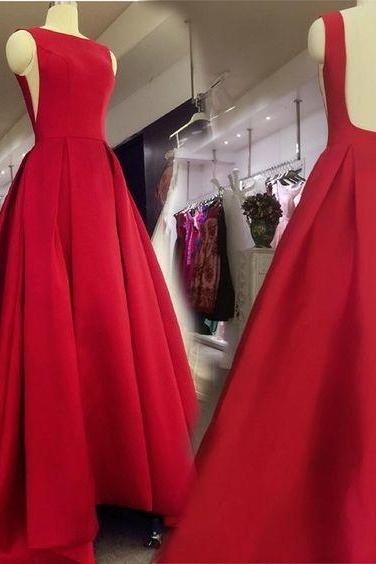Sexy Red Long Backless Formal Gown 2019, Red Wedding Party Dresses 2019
