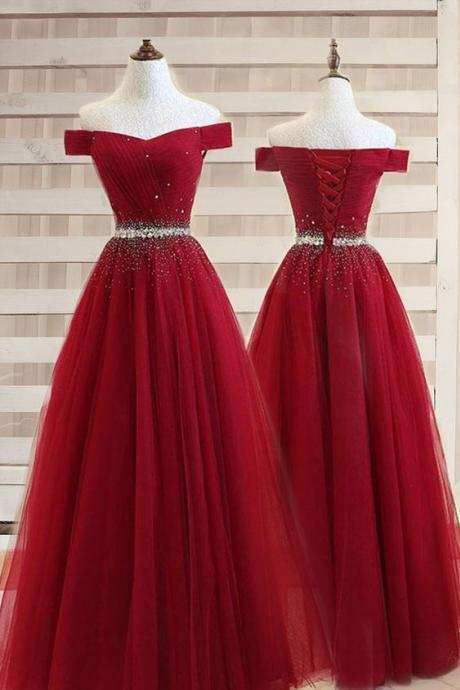 Wine Red Tulle Long Evening Gown, Charming Junior Prom Dresses 2019