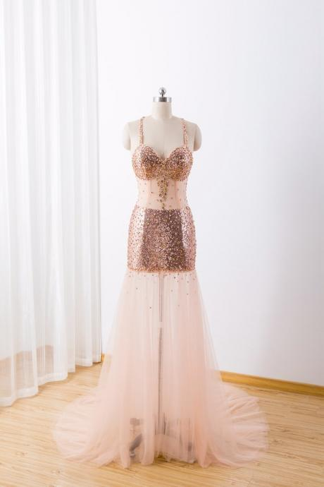 Sexy Gold Sequins See Through Straps Formal Dress 2019, Beautiful Party Gown 2019