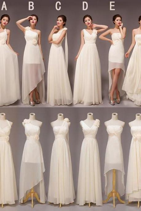 Simple Chiffon Ivory Handmade Long Party Dress, Beautiful Prom Dresses 2019