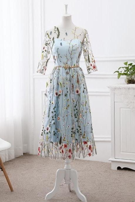 Light Blue Bridesmaid Dress 2019, Beautiful Flowers Gown 2019