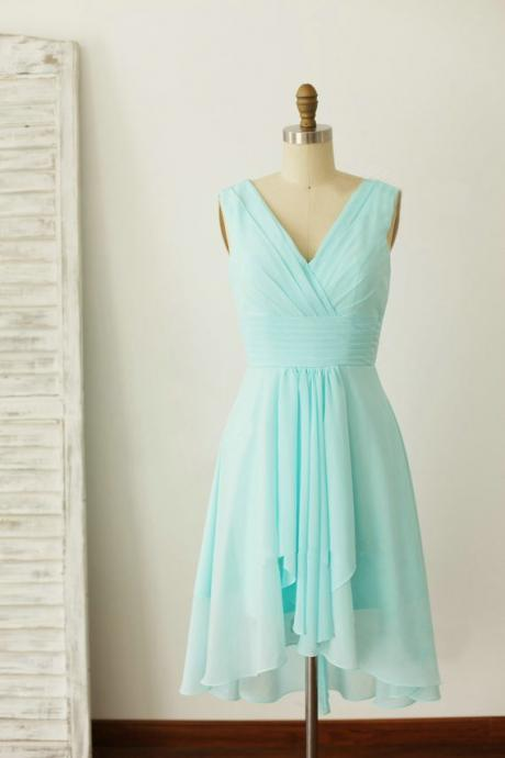 Mint Green Chiffon Simple New Style Bridesmaid Dresses, Mint Green Formal Dress 2019