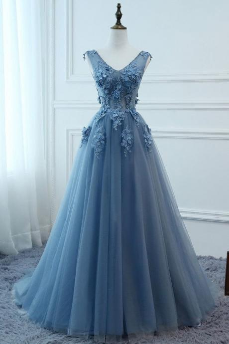 Beautiful Blue Long Tulle Prom Dress with Lace Flowers, Party Gowns 2019