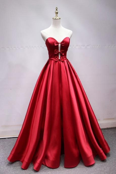 Charming Red Long Party Dress, Satin Long Formal Gown 2019