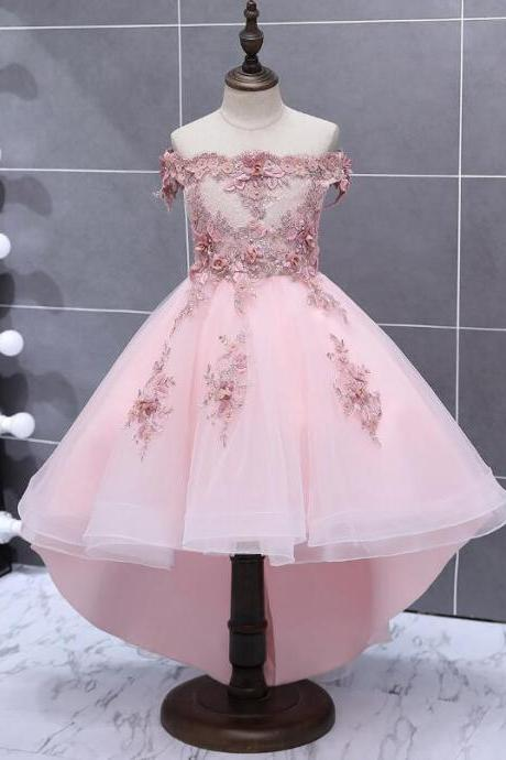 Lovely Pink Tulle with Flower Lace Applique Flower Girl Dress, Cute Little Flower Girl Dress in stock