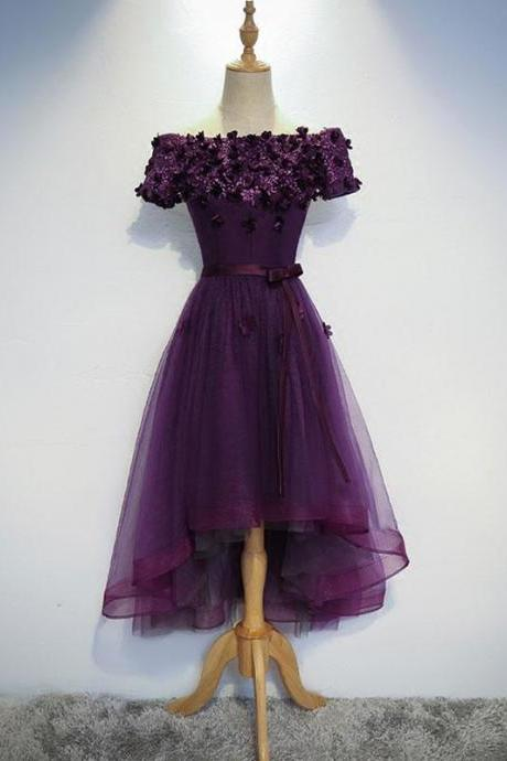 Dark Purple Flowers and Lace Tulle Party Dress, Homecoming Dresses