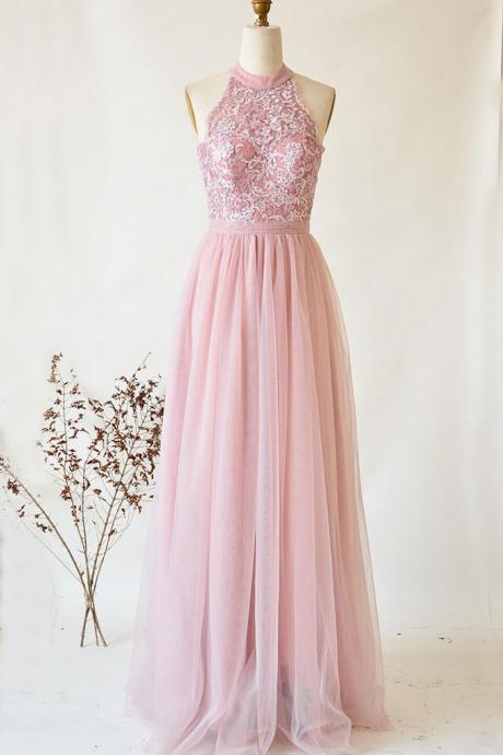 Pink Tulle and Lace Halter Elegant Party Dress, Long Formal Gowns 2019