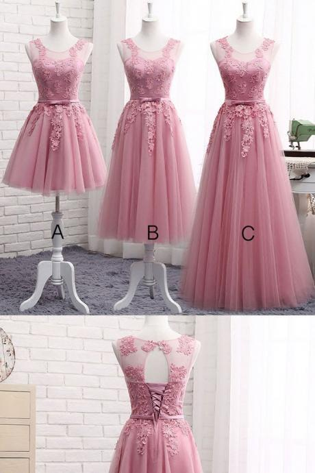 Pink Tulle Bridesmaid Dress, Charming Short Formal Dresses