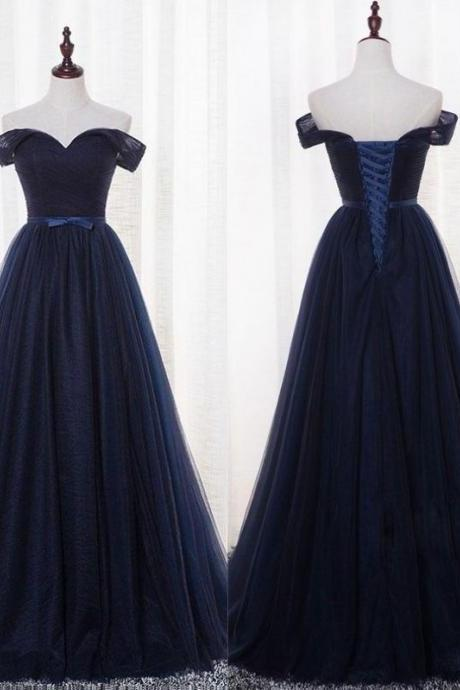 Navy Blue Off Shoulder Bridesmaid Dress, Simple Party Dress, Prom Dress