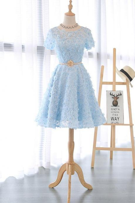 Blue Lace Short Party Dress with Belt, Knee Length Prom Dress