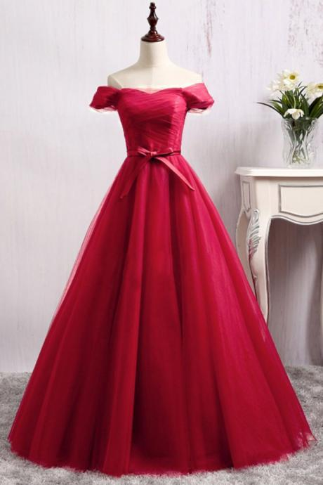 Dark Red Tulle Off Shoulder Style Long Party Gowns, Beautiful Prom Dress