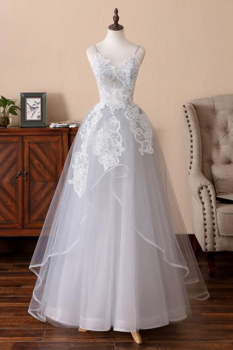 Grey Straps Unique Style Formal Dress, Tulle with Lace Long Gowns
