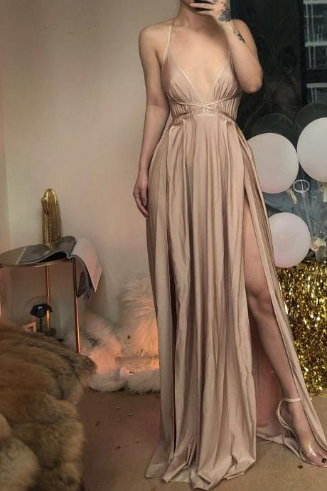 Sexy Champagne High Slit Backless Sexy Party Dress, Women Sexy Party Dress