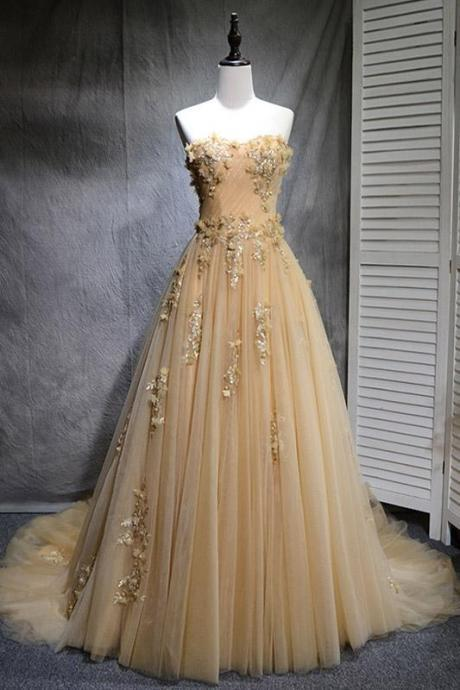 Beautiful Champagne Tulle Party Dress, Long Handmade Prom Gowns