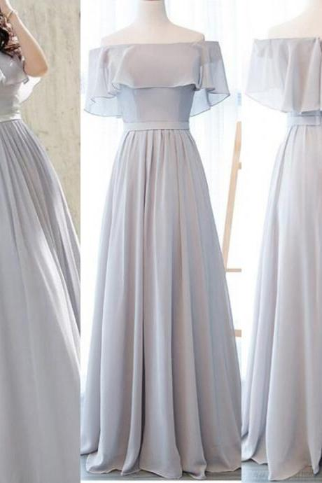 Beautiful Grey the Off Shoulder Long Party Gowns, Grey Prom Dress 2019