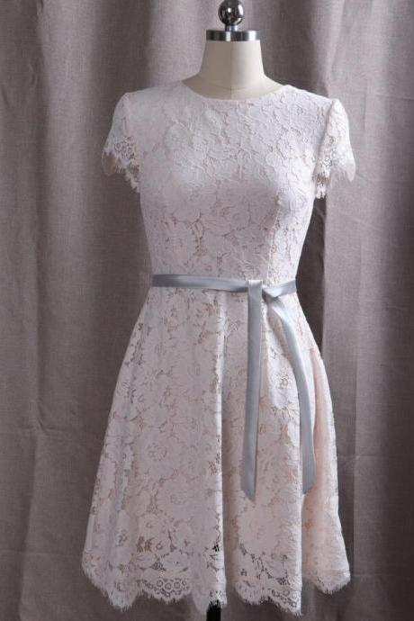 Elegant Lace Cap Sleeves Wedding Party Dress with Belt, Short Party Dresses