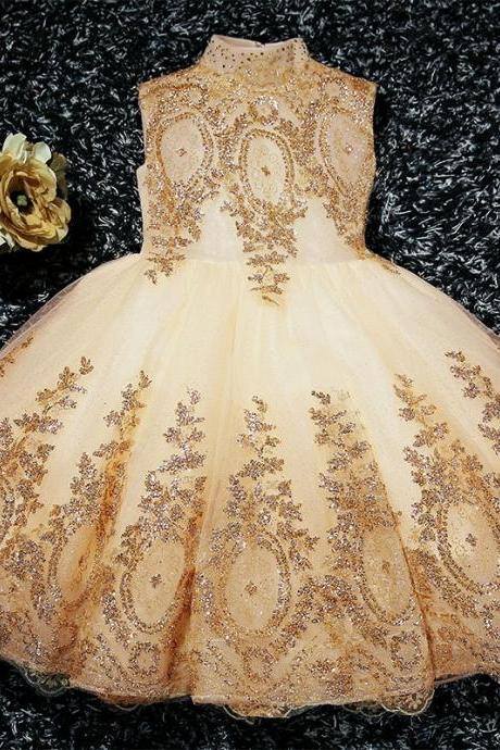 Cute Champagne Tulle with Flower Lace Applique Flower Girl Dress, Cute Little Flower Girl Dress in stock