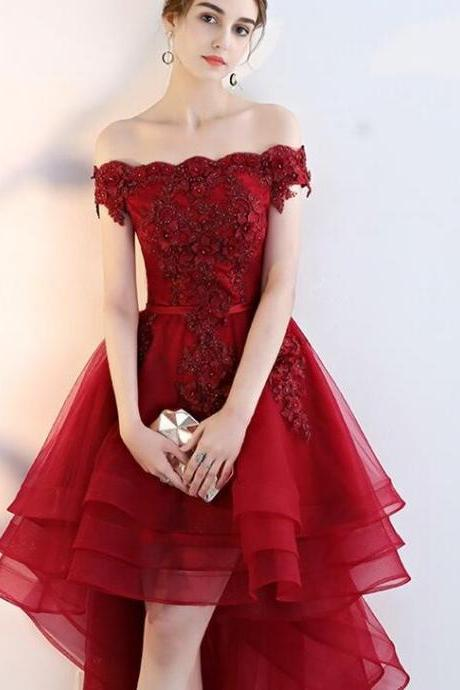 Dark Red Off the Shoulder Tulle Homecoming Dress, High Low Prom Dress