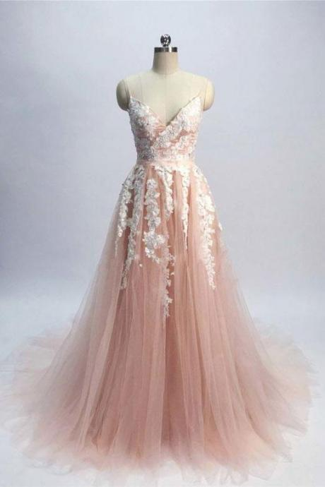 Pink Tulle Elegant Junior Prom Dress with Lace Applique, Long Formal Dress