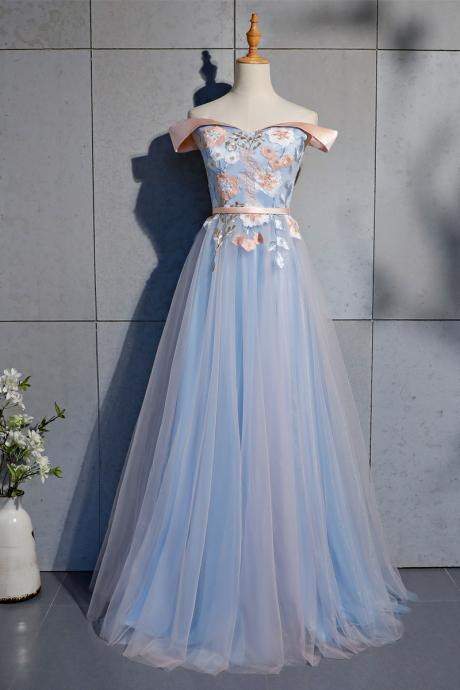 Light Blue and Pink Tulle Sweetheart Prom Dress, Long Prom Dress
