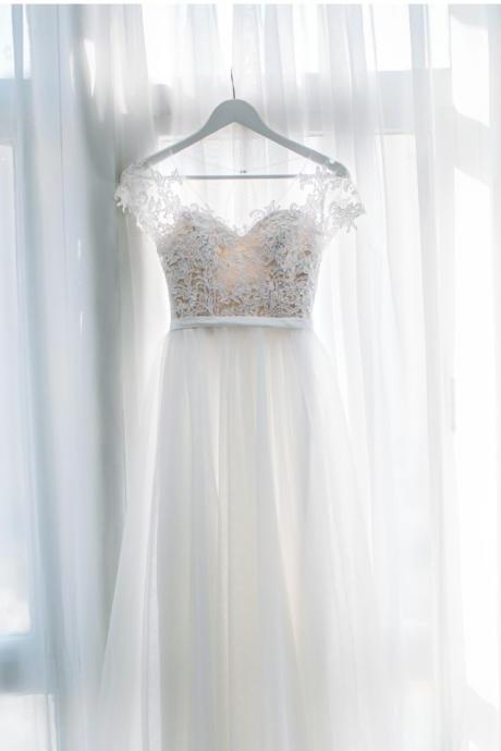 Beautiful Lace and Tulle Long Simple Bridal Dress, Beach Wedding Dress
