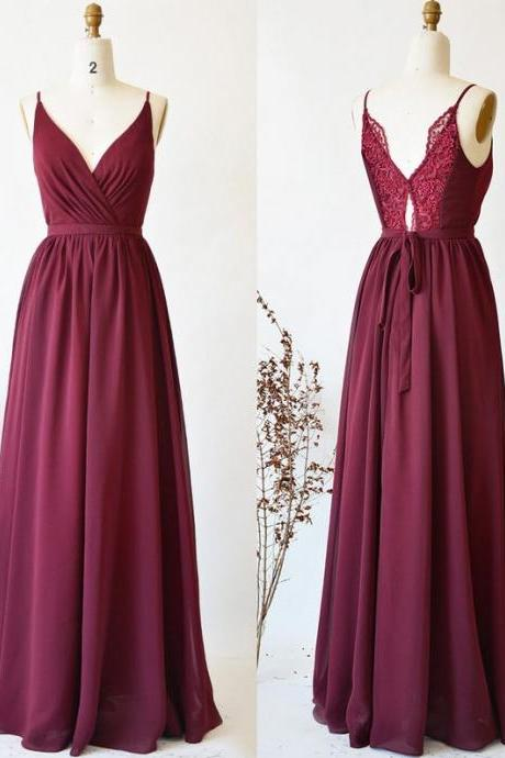 Wine Red Chiffon and Lace Bridesmaid Dress, Beautiful Simple Party Dress