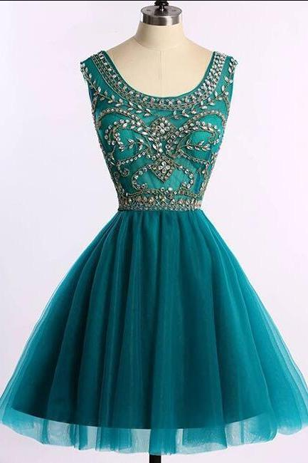 Charming Green Tulle Homecoming Dress 2019, Beaded Formal Dress