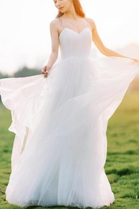 Simple Straps Long Sweetheart Tulle Formal Dress, White Beach Wedding Dress
