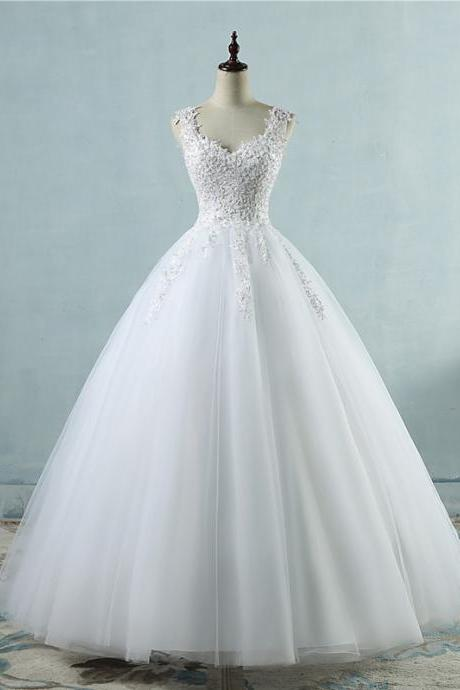 Beautiful White Tulle V-neckline Long Wedding Gown, Charming Bridal Gown