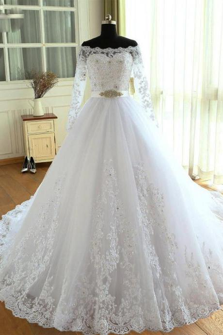 White Long Sleeves Tulle and Lace Elegant Wedding Dress, Beautiful Bridal Dress