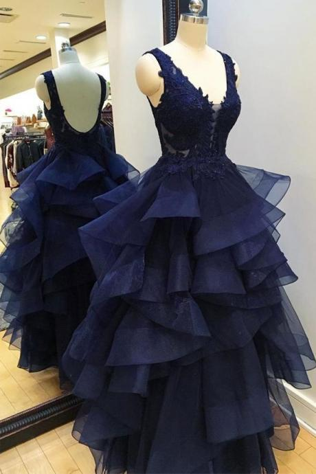 Beautiful V Neck Navy Blue Backless Prom Dresses, Evening Gowns Dress