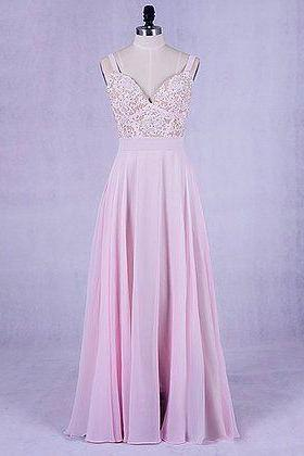 Beautiful Pink Chiffon Straps Long Prom Dress with Lace Applique, Party Dress 2019